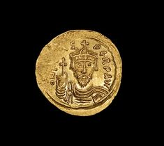 A solid gold Byzantine solidus of Emperor Phocas, struck 602 - 610 A.D. at the Constantinople mint.