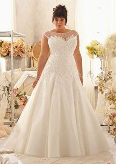 Discount  New Arrival A-Line Appliqued Organza Plus Size Wedding Dress Free Measurement