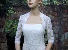 Sale  White 3/4 sleeve bridal shrug lace bolero by alexbridal, $99.99