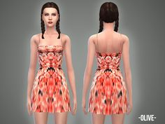 -April-'s Olive – dress | Sims 4 Updates -♦- Sims Finds & Sims Must Haves -♦- Free Sims Downloads