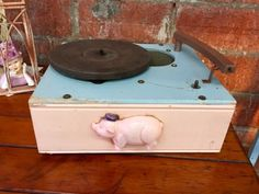 So Cute Pink Vintage Pig Record Player   Great Display Piece  $30  Dallas Vintage Market Booth #7777  White Elephant 1026 N. Riverfront Blvd. Dallas, TX 75207   Like us on Facebook: https