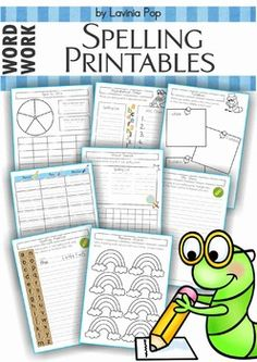 Spelling Word Work - 17 printable worksheets This book contains a collection of 17 spelling/word work printables that can be used with any word list. The second half of this unit contains the same worksheets with a highlighted writing line for use with children who are struggling with letter size differentiation.