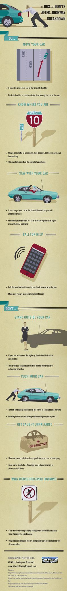 Should you stay with your car if it breaks down on the highway? If possible, move your car to the side of the road and stay near it until help arrives. Click on this infographic to learn more about handling emergency situations on the highway.