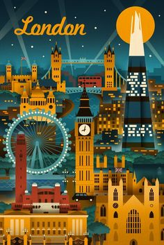 London, England - Retro Skyline | Art Print, Wall Decor Travel Poster