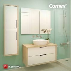 Una idea para que tu baño sea moderno y diferente. #Comex