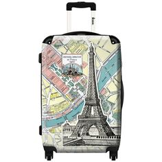 iKase ' Eiffel Tower Card' 24-inch Fashion Hardside Spinner Suitcase