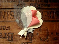 Romantic Boutonniere in pink and grey by CurtseyBridal on Etsy, $15.00