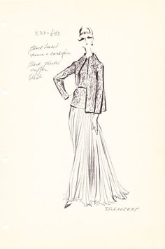Original Vintage Fashion Sketch Stat Sheet by the house of Yves Saint Laurent 643 on Etsy, $50.00