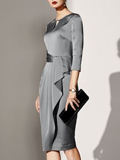 Product Name Boat Neck Plain Bodycon Dress Brand Name Gracybee SKU Thickness regular style Western Material blend Collar&Neckline boat … Elegant Dresses, Sexy Dresses, Dress Outfits, Casual Dresses, Fashion Dresses, Dresses For Work, Formal Dresses, Wedding Dresses, Ball Dresses
