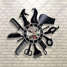 Hairdresser Barber Shop Salon Vinyl Record Wall Clock Art Home Decor Gift Idea in Home & Garden, Home Décor, Clocks   eBay