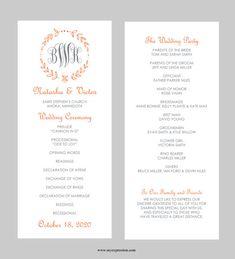 wedding program templates for word