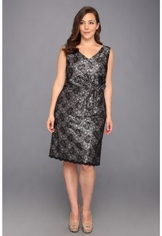Tahari by ASL Plus - Plus Size Patrick Dress (Black/Silver) - Apparel