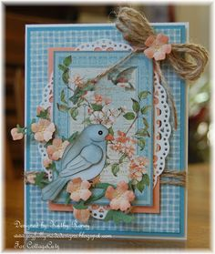 CottageCutz Dies - Bluebird, Blossom Branch, and Oval Doily & Frame with Graphic 45 Secret Garden Papers