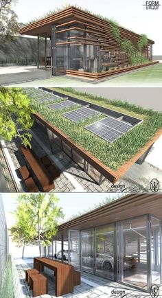 This garage is environmental friendly with the grass and solar panels on its roof.