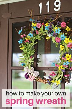 Are you looking to spruce up your front door for spring?  Here's the step by step instructions on how to make your own spring wreath!  It will take you less than one hour!