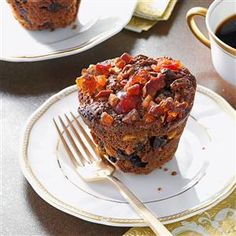 Miniature Christmas Fruitcakes Recipe -I've found that people who normally won't eat fruitcake make an exception when they sample these. Using mini muffin pans for baking creates fun, single-serving cakes. —Libby Over, Phillipsburg, Ohio
