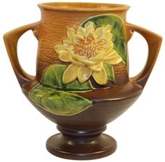 Roseville Pottery Water Lily Brown Vase 175-8