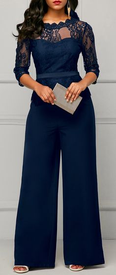 Scalloped Neckline Lace Panel Navy Jumpsuit.