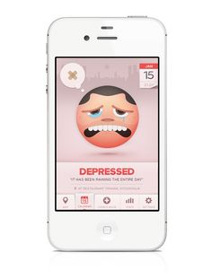 iPhone Application | 2012Moodswings helps you add and track your daily mood through time and location. Check how people in your neighborhood are feeling and understand the reasons behind your moodswings.