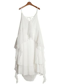 White Plain Irregular Condole Belt Chiffon Dress