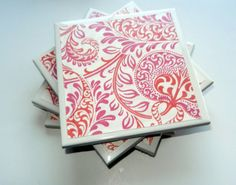 Coral and Pink Floral Coasters Set of 4  $15.00