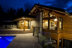 Home – Daizen Joinery Western Canada, Night Shot, Wood Construction, Joinery, Woodworking, Cabin, Mansions, House Styles, Frame