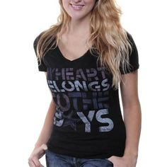 Dallas Cowboys Ladies My Heart Belongs To V-Neck T-Shirt - Black