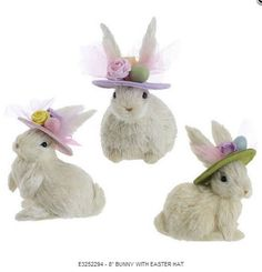 "PerfectlyFestive | 8"" Bunny with Easter Hat"