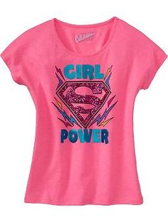 "Always love superhero shirts for girls. Only wish the ""S"" could be in red instead of pink and sparkly (you know, like the real Superman and Supergirl wear!). From Old Navy, sizes 5-16."