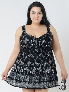 Black Butterfly Conservative Colorful Printed High Elasticity Plus Size Swimsuit With Little Skirt Lidyy1605241067