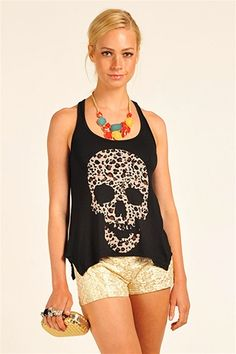 Skull Printed Tank with Leopard my two favorite things put together