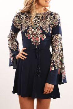 Lucinda Dress Navy Print