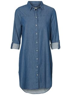 VERO MODA denim shirt dress. Wear it with a brown waist-belt  and a pair of boots for a cool 70's look.
