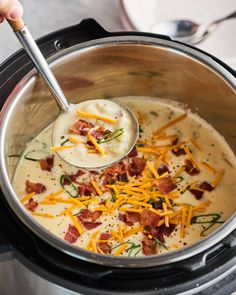 Easy, Creamy Instant Pot Baked Potato Soup with Bacon   Kitchn Instant Pot Potato Soup Recipe, Potato Bacon Soup, Best Instant Pot Recipe, Instant Pot Dinner Recipes, Instant Recipes, Pressure Cooking, Stuffed Peppers, Ethnic Recipes, Crockpot Recipes