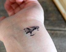 Temporary Tattoo - Tiny Piano, Vintage, Rustic, Black tattoo, Music tattoo, Set of 5