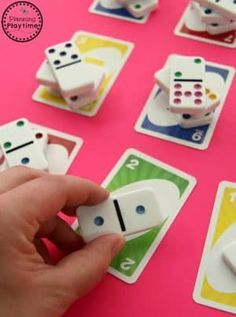 Kindergarten Counting with Dominoes and Cards When kids are learning numbers and counting it is great to use lots of different activities and games to reinforce those concepts. This simple kindergarten counting activity from Planning Playtime … Numbers Preschool, Learning Numbers, Math Numbers, Decomposing Numbers, Counting Activities, Preschool Activities, Subitizing Activities, Math For Kids, Fun Math
