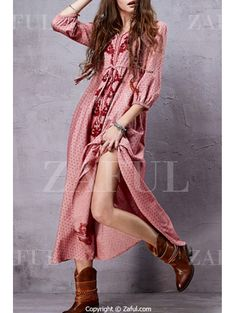 Embroidery V Neck 3/4 Sleeve A Line Dress - PINK M Mobile