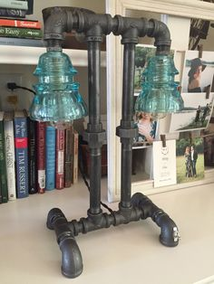 Steampunk Lamp / Pipe Lamp / Steampunk Lighting / Industrial Lighting / Glass Insulator / Insulator Lighting / Bankers Lamp / Edison Lamp by UpscaleIndustrial on Etsy https://www.etsy.com/listing/267675812/steampunk-lamp-pipe-lamp-steampunk