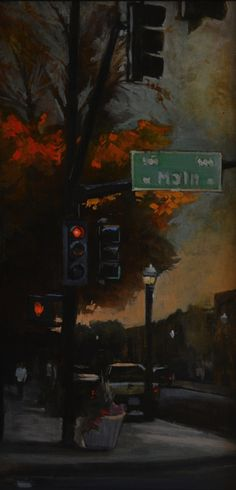 """6th & Main""  12x24 inches - oil on panel"