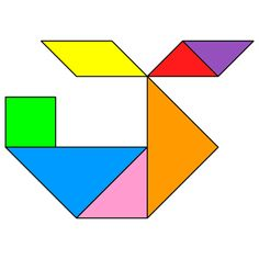 The solution for the Tangram puzzle : Helicopter 3 Kindergarten Centers, Preschool Math, Fun Math, Math Games, Math Centers, Worksheets For Kids, Math Worksheets, Tangram Puzzles, Paper Puppets