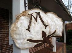 Cotton Boll Burlap Door Hanger by SeasonalTraditions on Etsy, $40.00