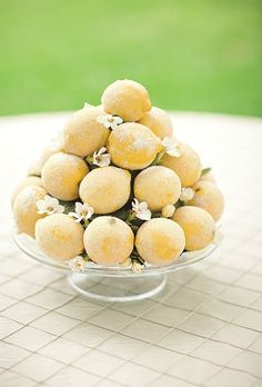 Sugared lemons for something different as a table centerpiece for parties