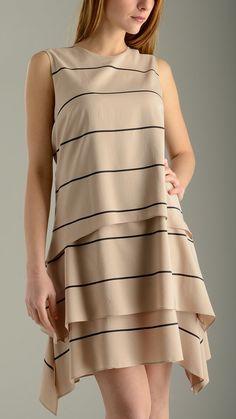 Slender striped stretch silk crepe de chine flared dress featuring round neck, sleeveless, back zip fastening, knee length, arched hem, regular fit, 92% silk 8% elastan .