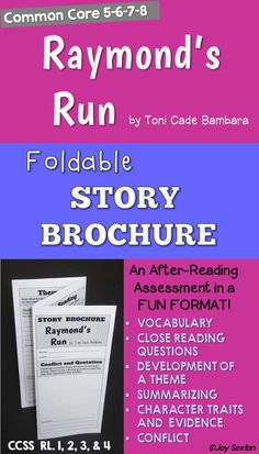 """This six-sided story brochure for """"Raymond's Run"""" will be a hit with your students as they practice Common Core skills in a fun format! Students cite text evidence, make inferences, summarize, experience new vocabulary, examine conflict, and determine theme."""