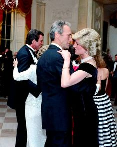 November 9, 1985 Princess Diana dances with Hollywood actor Clint Eastwood, during a state banquet hosted by President Reagan at The White House in Washington