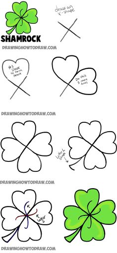how to draw four leaf clovers and shamrocks