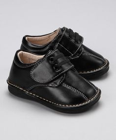 Black Leather David Dress *Squeaker Shoe - Boys by Squeaky Feet by Little Green Trike $12.99 (Can disable squeaker)