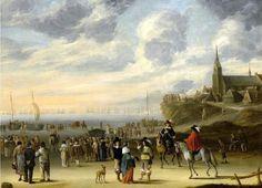 Cornelis Beelt (1612 - 1702).   Een gezicht op het strand van Scheveningen voor het vertrek van Charles II op 2 juni 1660. (Coll. Mutualart.com).