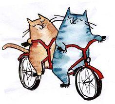 Emily A. Ilustracja Fox: Koty na rowery.