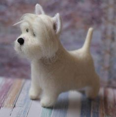 This handmade needle felted Westie, West Highland White Terrier is dogs soft sculpture from New Zeland carded and German merino wool always will make you smile and give you warm feeling like you hold alive creature. All our toys made with big love and positive thoughts and energy.